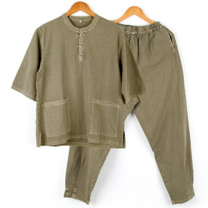 면100% 여름 남성 생활한복 공용 계량한복 풀색 SET