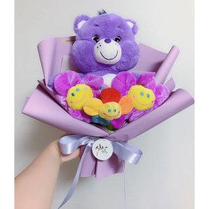 졸업식 재롱잔치 기념일 케어베어 꽃다발 (퍼플)