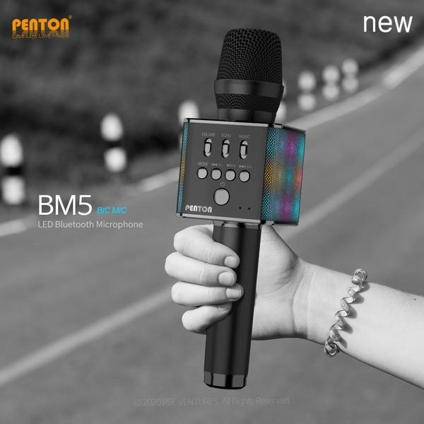 BM5 다이나믹 무선 블루투스 5.0 노래방 마이크 LED