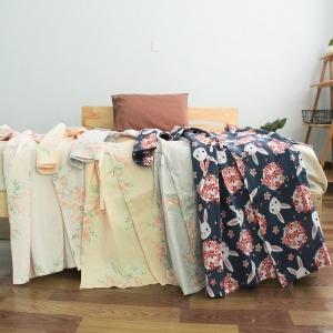 샤워가운 일본스타일 여성 순면 칠부소매 기모노 끈
