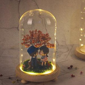 LED 원목 말린부케유리돔 와이어형S(리모컨형)