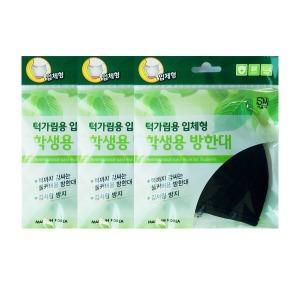 턱가림 학생용입체방한대 면마스크 블랙3개/3중필터