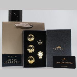 베르티니 24K 도금 골프공 3구 선물세트 홀인원기념품
