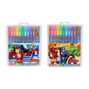 어벤져스 12색 케이스 싸인펜/미술 색칠 놀이 사인펜