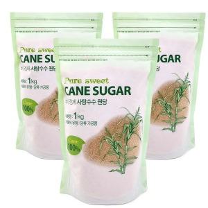 퓨어스윗 비정제 사탕수수원당 3kg(1kgx3팩)/갈색설탕