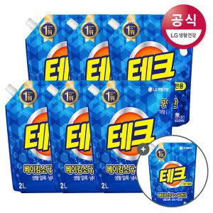 테크 베이킹구연산 액체세제 일반 리필2L 6개+1L증정 - 상품 이미지