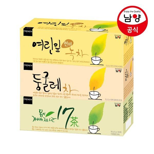 프렌치카페 녹차/둥글레차/17차 티백 3종 골라담기