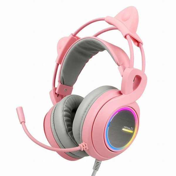 ABKO HACKER B771 핑크 가상 7.1 RGB  게이밍 헤드셋