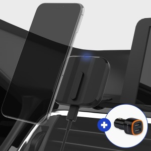차량 고속무선충전거치대 슬라이드형 원킬세트-실버