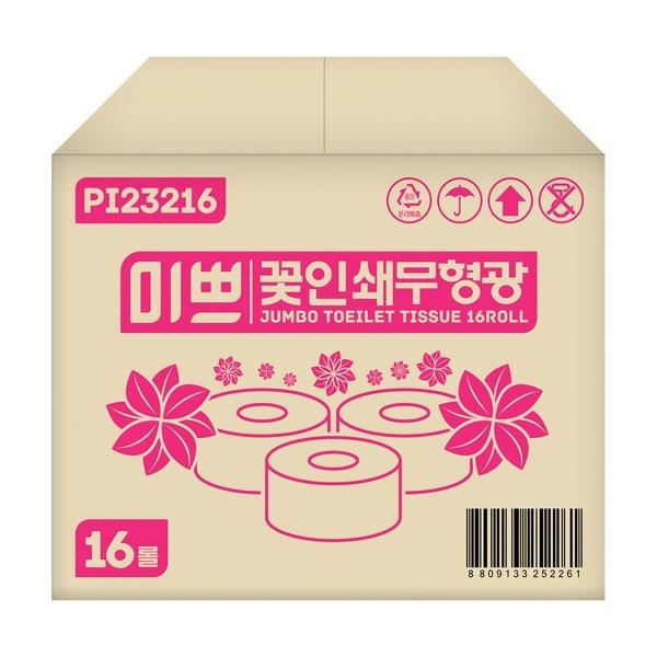 팜파스 점보롤화장지 미쁘 100%무형광 프리미엄 꽃인쇄