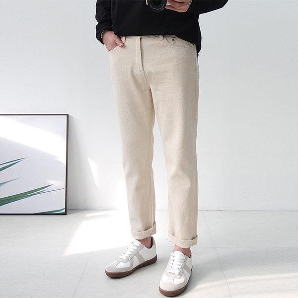 쿼터 남자 크림진 데님 청바지 레귤러핏 XT