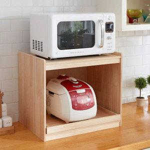 뷰티스트림   엘린까사  삼나무 원목 렌지대 전자렌지 수납 밥솥수납장 주방 수납선반