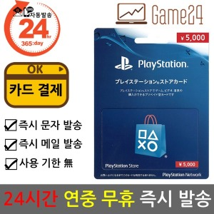 소니 일본 PSN 기프트 선불카드 5000엔 PS5 스토어