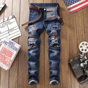 자수와펜 특이한 슬림핏 남성 스판청바지 denim jeans