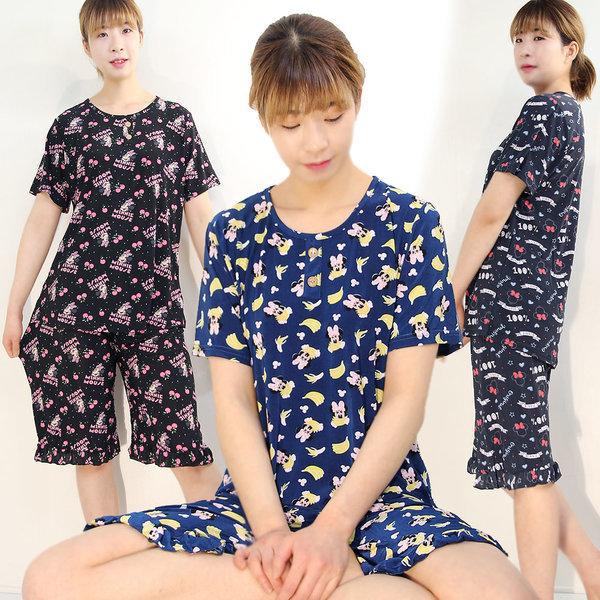 냉감 쿨(COOL) 미키반팔 상하세트 여성잠옷 홈웨어