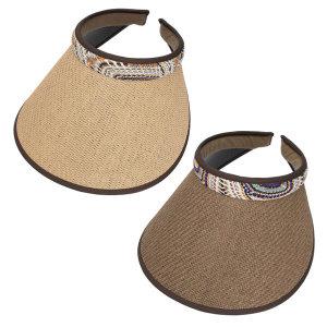 에스닉 라탄 썬캡 여성 밀짚모자 휴양지 여름모자