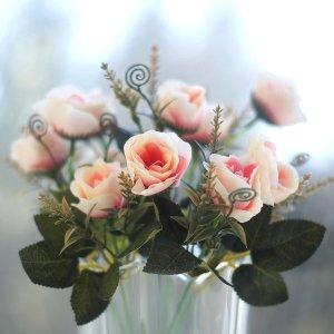 미니장미(피치색) 조화 인테리어 실크플라워 인조꽃