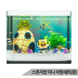 스펀지밥 미니어항세트(중) 스폰지밥 유리 수족관세트