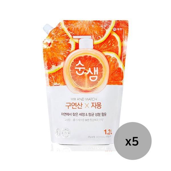 순샘 맥스앤매치 구연산X자몽 1.2L 5개