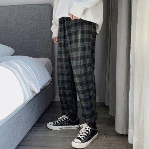 남자 9부 면 체크 무늬 바지 와이드 슬랙스 팬츠