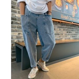 38-YU통밴딩 배기 청바지 팬츠 데님 보이핏 77사이즈