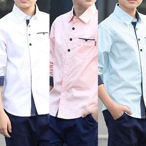 제이알준 배색도트셔츠 남아 주니어의류 초등남방 셔츠
