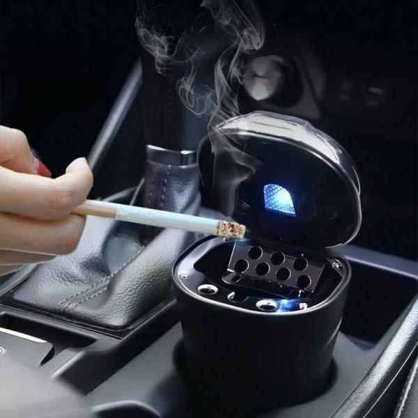 D803 차량용 대용량 LED 재떨이 재털이 냄새차단 휴지
