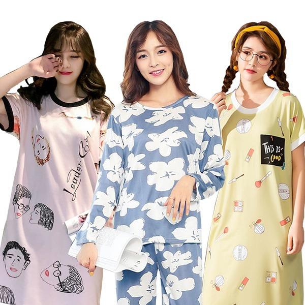 꿀잠 잠옷세트 파자마 원피스 잠옷 홈웨어 반팔잠옷