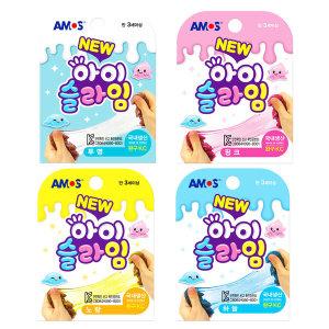 아모스 아이슬라임 70g 4색세트(투명 노랑 핑크 하늘)