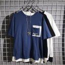 남자 레이어드 반팔 티셔츠 루즈핏 라운드 면티 iv06
