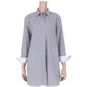 카라 세로 스트라이프 롱 셔츠 (TS1BL037L0)