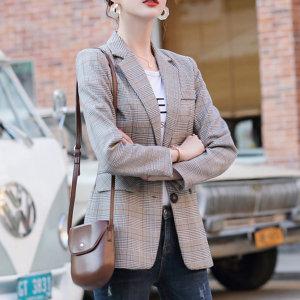 여성자켓 심플 체크 아우터 여자정장 봄신상 재킷