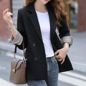 여성자켓 체크소매 아우터 여자정장 봄신상 재킷