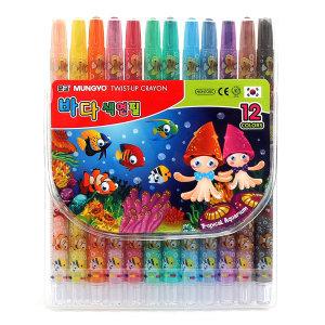 문교 바다색연필 12색 1개 샤프식색연필 미술색연필