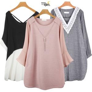 빅사이즈여성의류 여름반팔 티셔츠/롱티/원피스마마걸