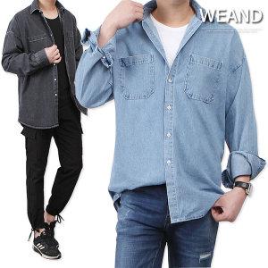 핏감 좋은 워싱 데님셔츠/남자 오버핏 청남방/청자켓