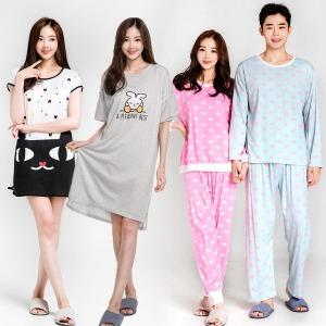 여성 잠옷 커플 파자마 바지 원피스 홈웨어 실크잠옷
