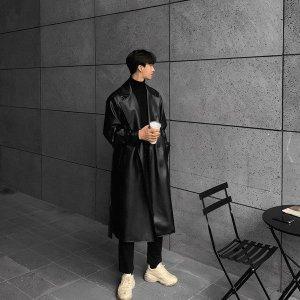 남성 봄신상 인조가죽 트렌치코트 루즈핏 패션