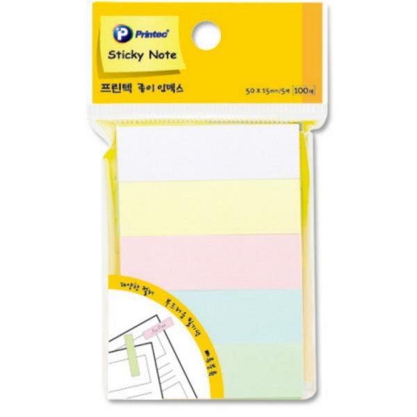 종이인덱스(PI060/파스텔5색/50X15mm/100매X5/프린텍)-오피스디포