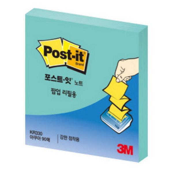 포스트-잇 강한점착용 팝업리필 KR330 (아쿠아/3M)-오피스디포