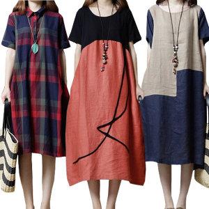 쉬블림로브 빅사이즈 루즈핏 롱 원피스 블라우스 셔츠