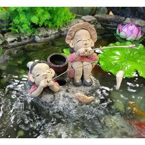 낚시 소녀/ 수반 어항 장식 낚시인형 정원 인테리어