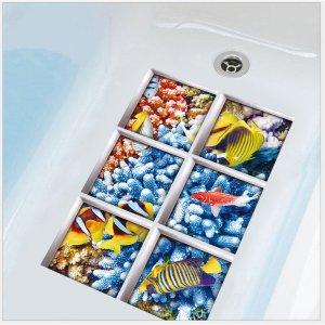 욕실 욕조 바닥 바닷속 입체 데코 포인트스티커 1+1