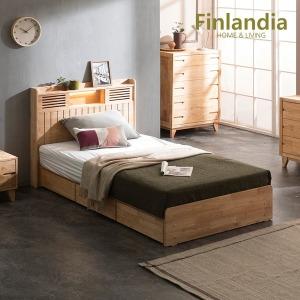 핀란디아 네이쳐 R100 수납LED 침대 SS+독립매트리스