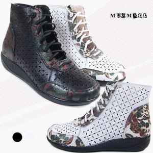 DCA06-9/봄 여름 가죽펀칭 여성 앵클부츠 앵글 신발
