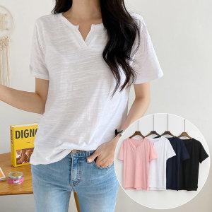 여성 반팔 티 여름 티셔츠 브이넥 면 흰 기본 슬라브