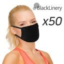 3겹 면 마스크 50개세트 빨아쓰는 다회용 블랙마스크