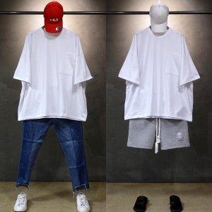 빠숑 박스오버핏 포켓 반팔티/오버핏반팔티/티셔츠
