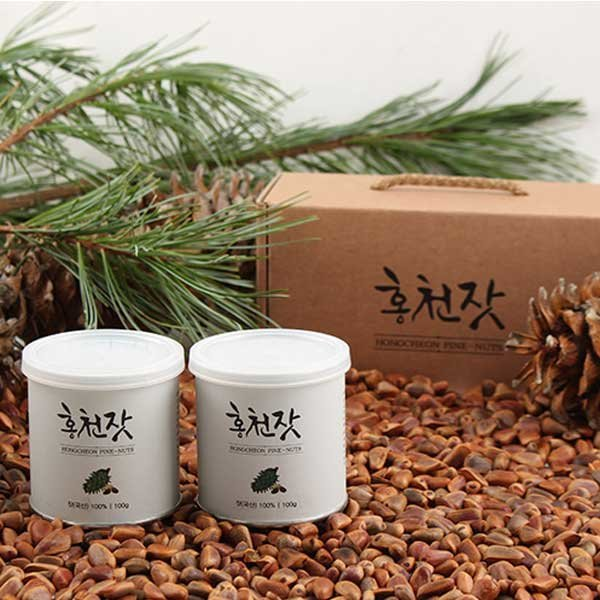 국내산 홍천농산 잣 선물세트 100gX2캔 백잣 견과류