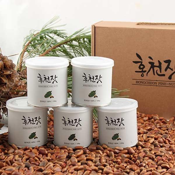 국내산 홍천농산 잣 선물세트 100gX5캔 백잣 견과류
